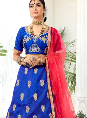 Art Silk Embroidered Designer Lehenga Choli in Blue