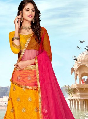 Art Silk Embroidered Designer Lehenga Choli in Mustard