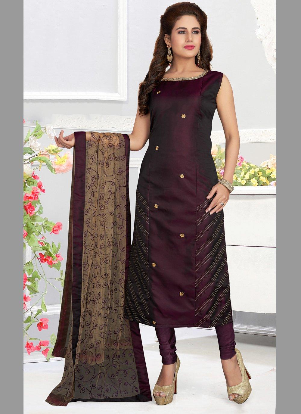 Art Silk Embroidered Designer Salwar Suit in Multi Colour