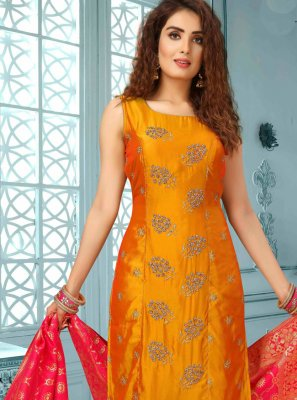 Art Silk Embroidered Designer Salwar Suit in Orange