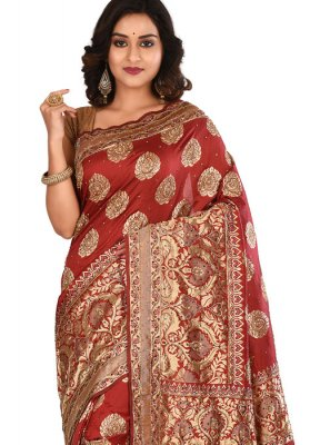 Art Silk Embroidered Designer Saree in Maroon