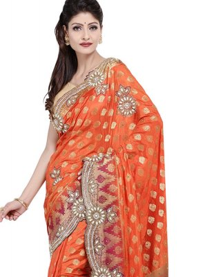 Art Silk Embroidered Designer Saree in Orange