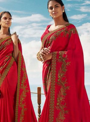 Art Silk Embroidered Designer Saree in Red