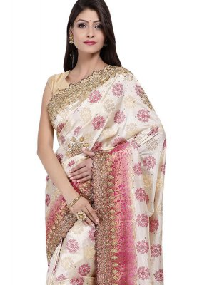 Art Silk Embroidered Designer Saree in White