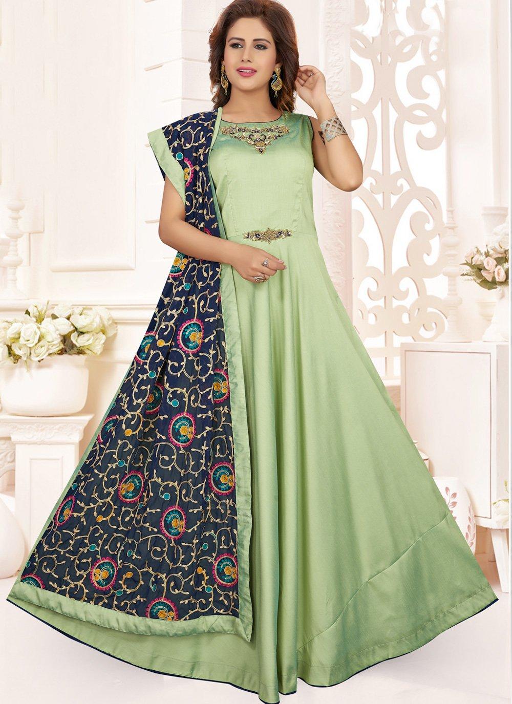 Art Silk Embroidered Green Anarkali Salwar Suit