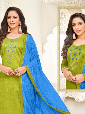 Art Silk Embroidered Green Churidar Suit
