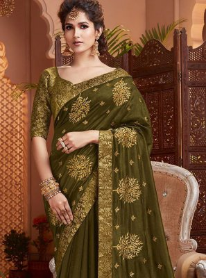 Art Silk Embroidered Green Classic Saree