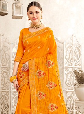 Art Silk Embroidered Mustard Traditional Saree
