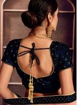Art Silk Embroidered Navy Blue Designer Lehenga Choli