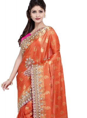 Art Silk Embroidered Orange Designer Saree