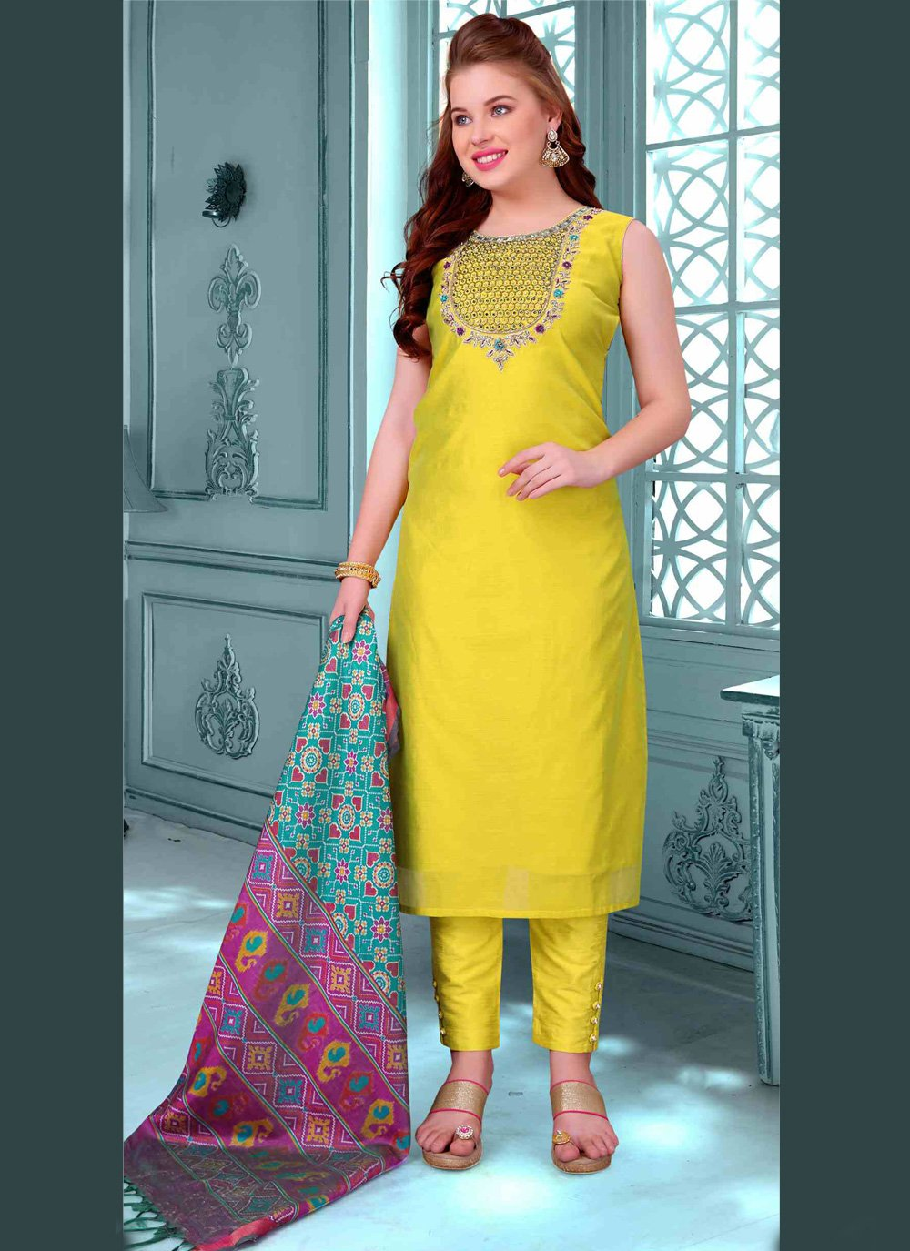 Art Silk Embroidered Pant Style Suit