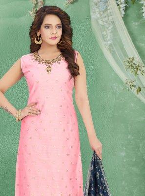 Art Silk Embroidered Pink Bollywood Salwar Kameez
