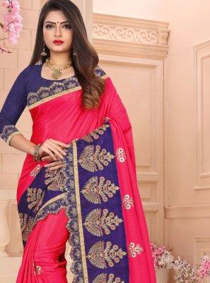 Art Silk Embroidered Rani Traditional Saree