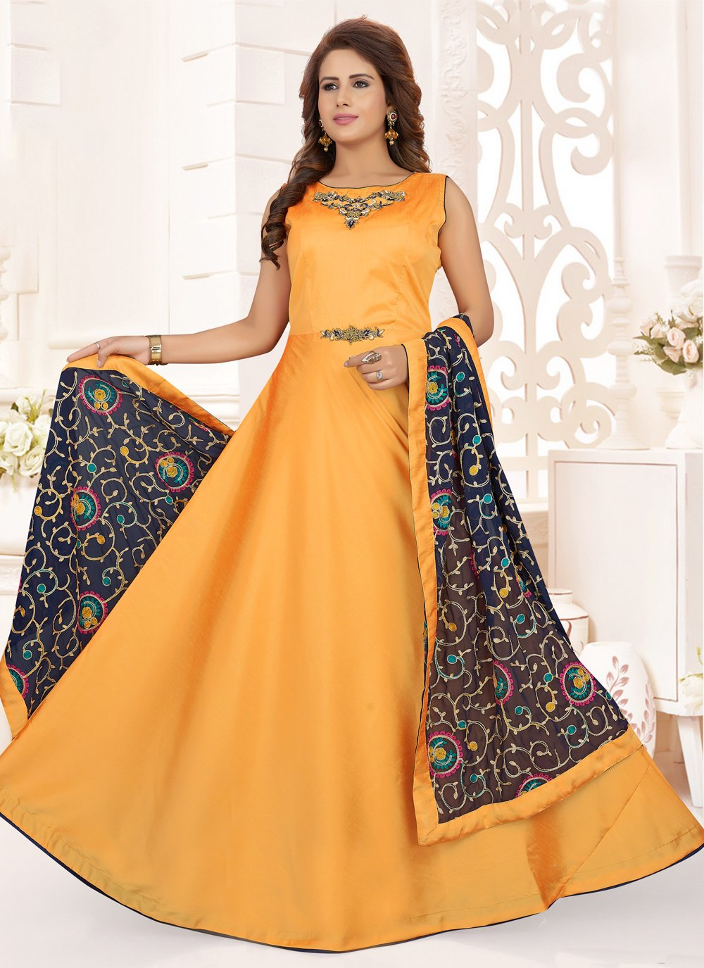 Art Silk Embroidered Readymade Anarkali Salwar Suit in Mustard