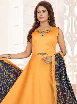 Art Silk Embroidered Readymade Anarkali Salwar Suit in Mustard
