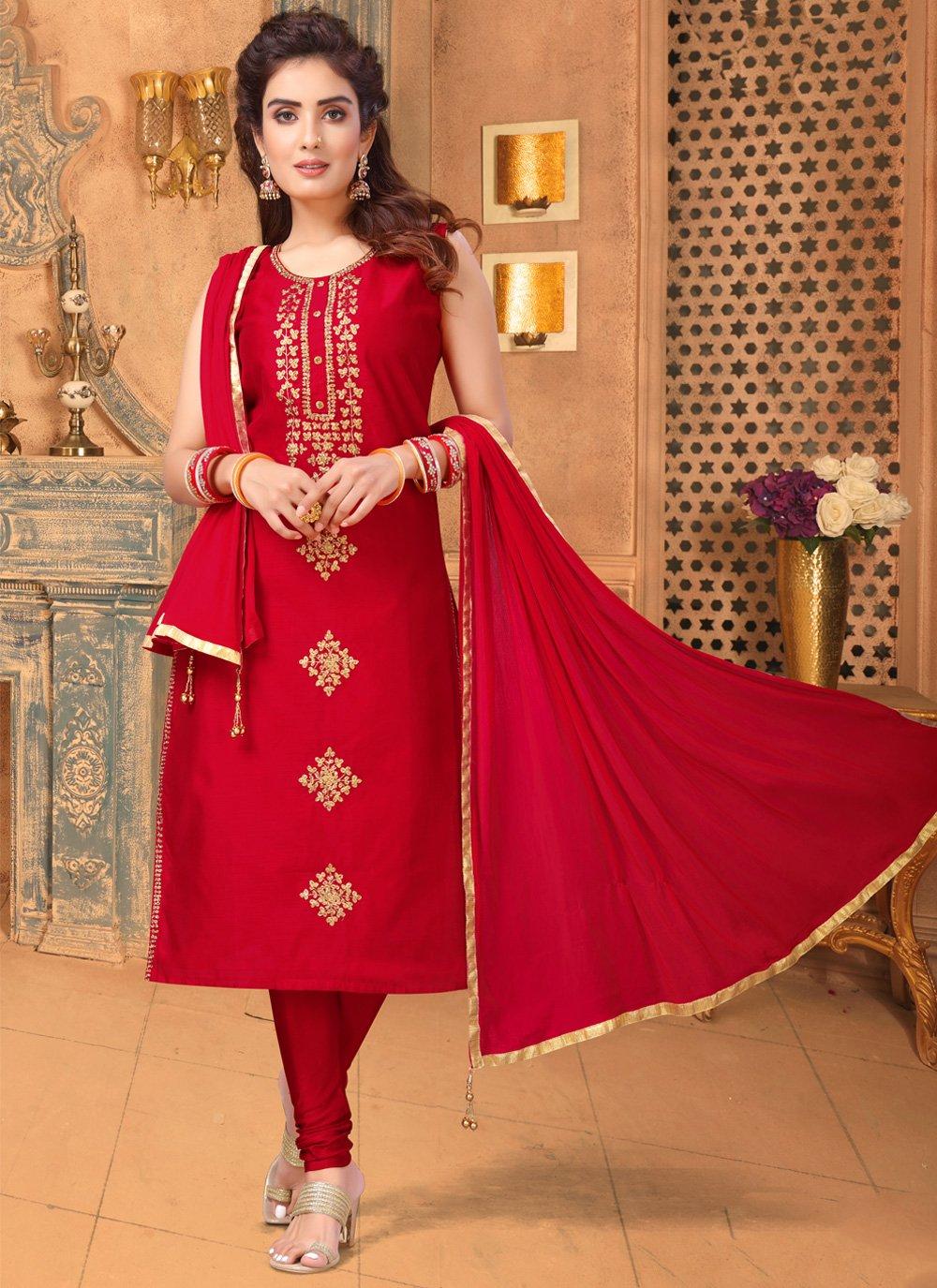 Art Silk Embroidered Red Churidar Salwar Suit