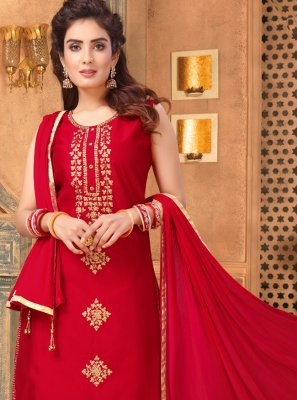 Art Silk Embroidered Red Churidar Salwar Suit