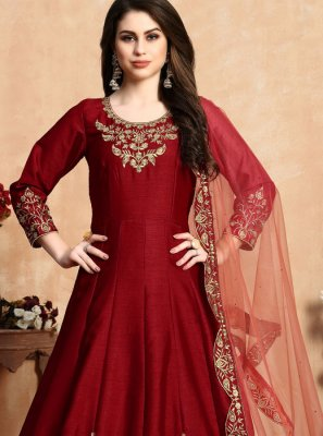 Art Silk Embroidered Red Salwar Suit