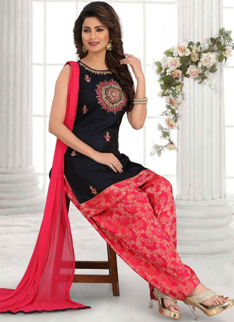 Art Silk Embroidered Salwar Suit in Black