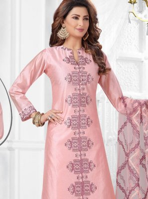Art Silk Embroidered Salwar Suit in Pink