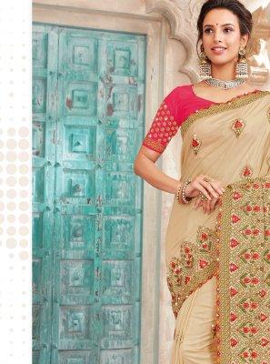 Art Silk Embroidered Saree in Beige