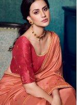 Art Silk Embroidered Traditional Designer Saree in Peach