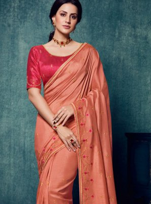 Art Silk Embroidered Traditional Designer Saree in Peach