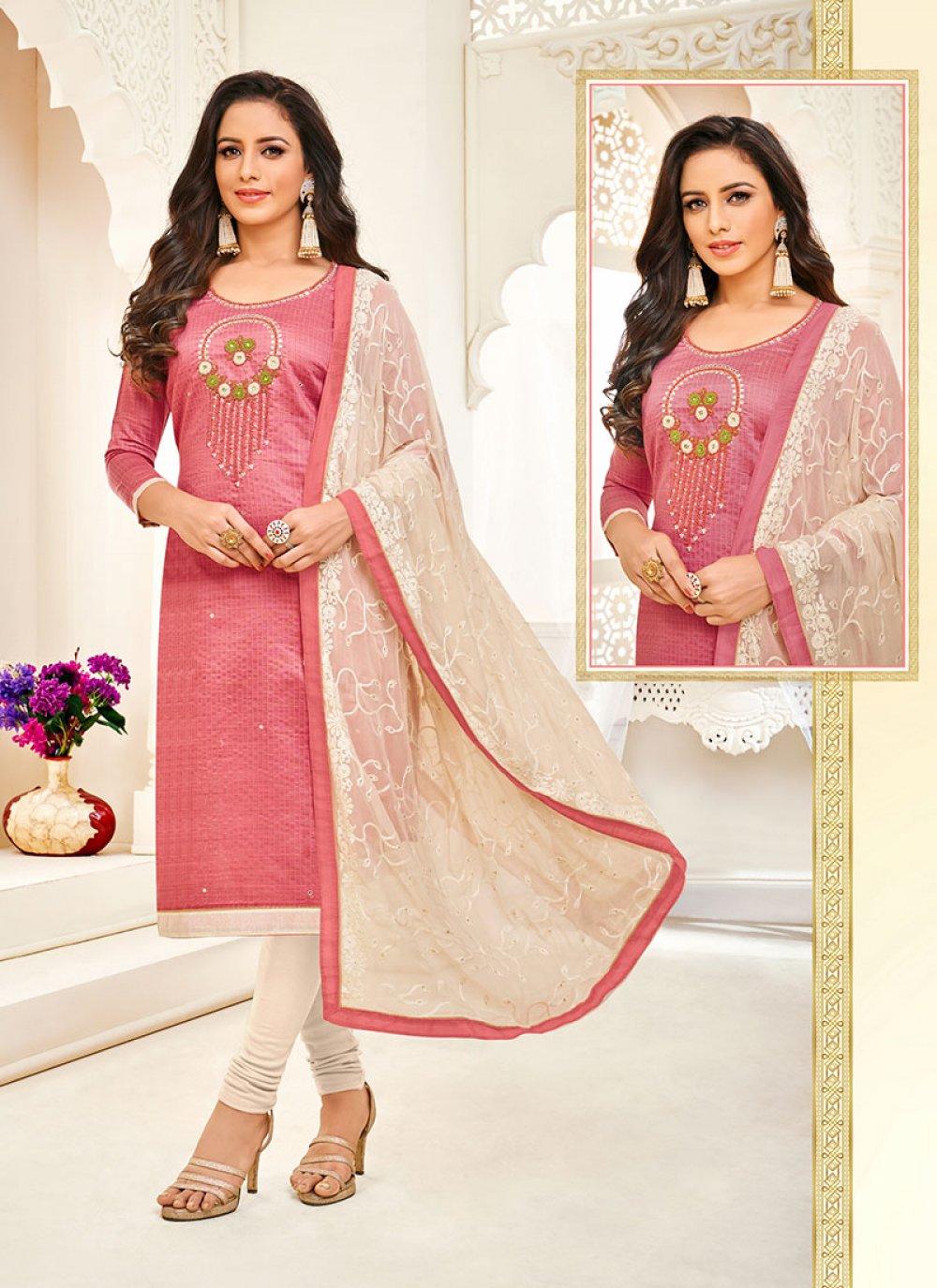 Art Silk Embroidered Trendy Churidar Salwar Kameez