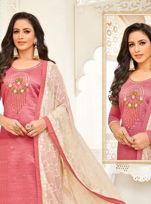Art Silk Embroidered Trendy Churidar Salwar Kameez