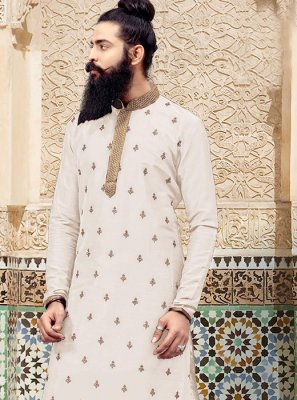 Art Silk Embroidered White Kurta Pyjama
