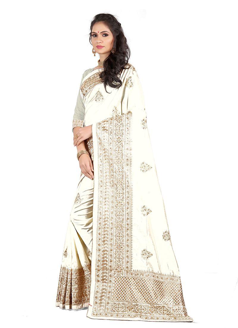 Art Silk Embroidered White Silk Saree