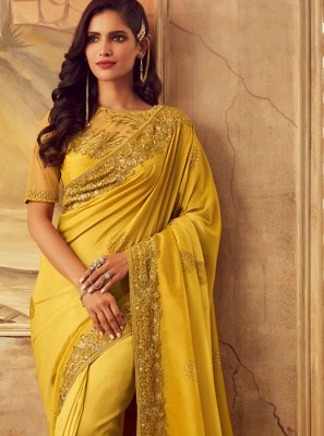 Art Silk Embroidered Yellow Designer Saree