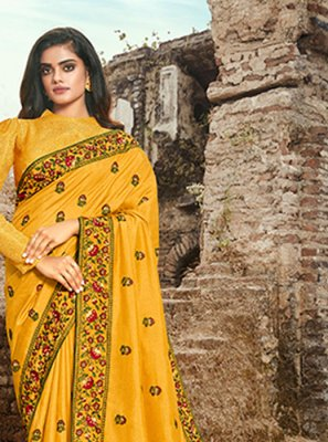 Art Silk Embroidered Yellow Designer Traditional Saree