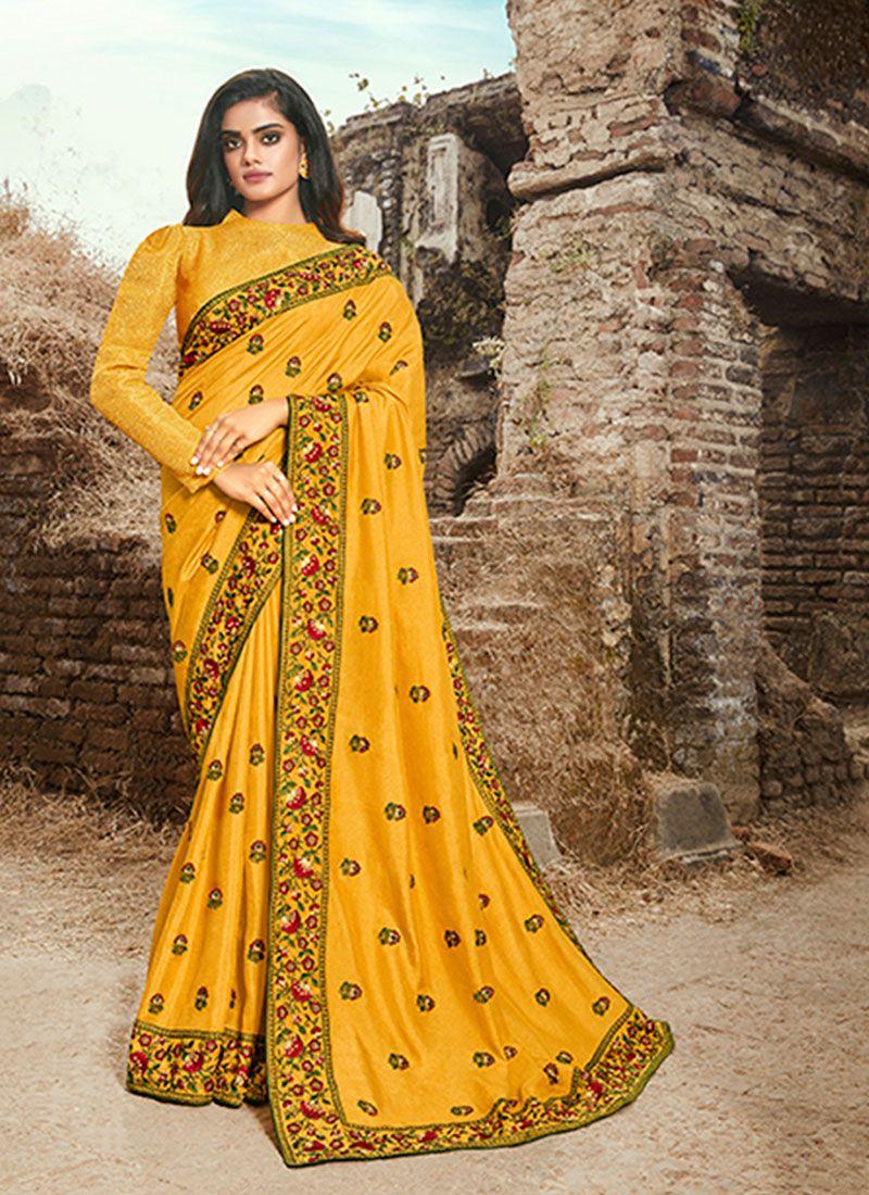 Art Silk Embroidered Yellow Designer Traditional Saree