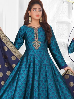 Art Silk Fancy Blue Readymade Suit