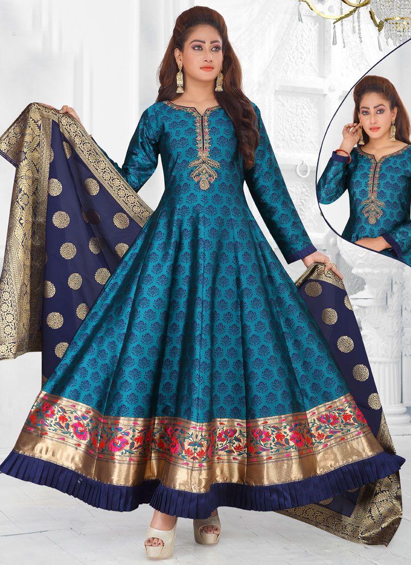 Art Silk Fancy Blue Readymade Suit
