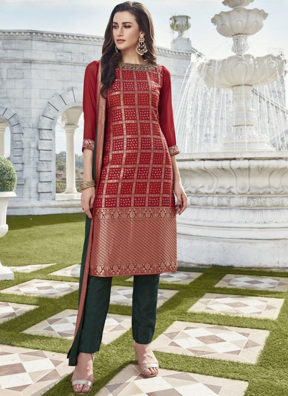 Art Silk Fancy Readymade Suit in Red