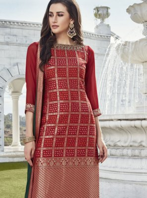 Art Silk Fancy Readymade Suit in Red