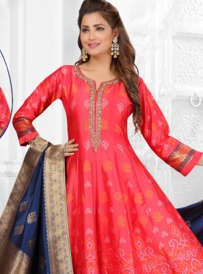 Art Silk Fancy Rose Pink Readymade Suit