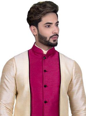 Art Silk Floral Print Beige Nehru Jackets