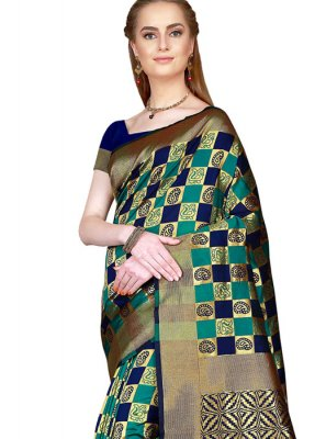Art Silk Green and Navy Blue Woven Saree