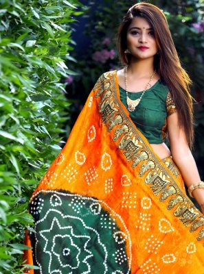 Art Silk Green and Orange Trendy Saree