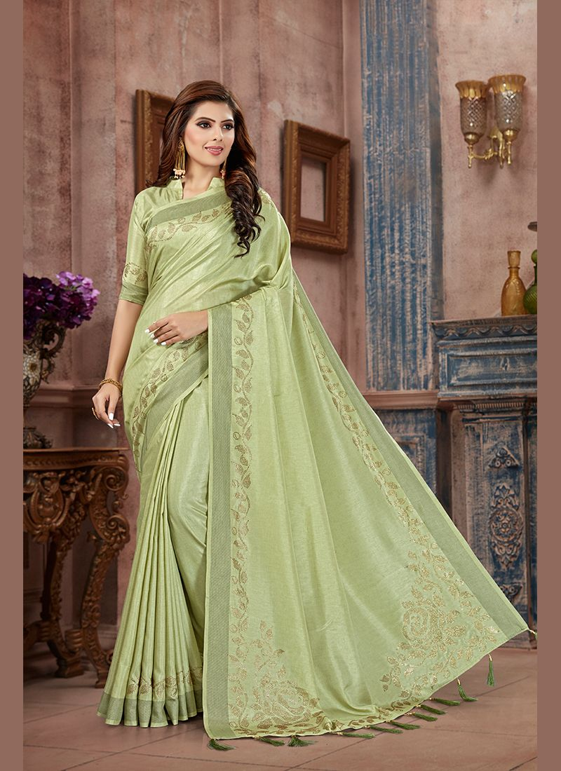 Art Silk Green Classic Saree