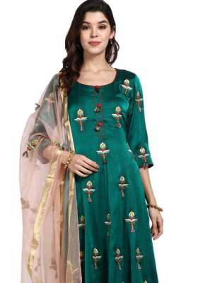 Art Silk Green Designer Pakistani Salwar Suit