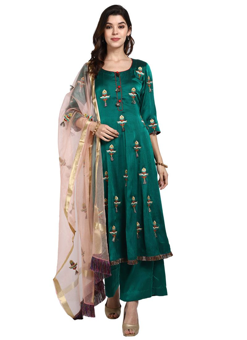 Art Silk Green Designer Pakistani Salwar Suit