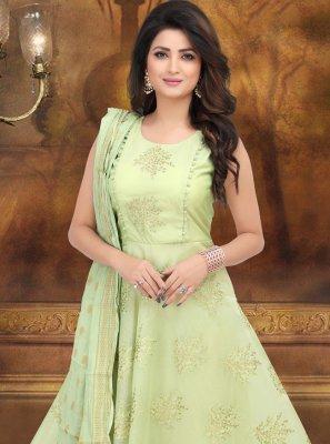 Art Silk Green Desinger Anarkali Salwar Kameez