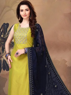 Art Silk Green Embroidered Churidar Salwar Kameez