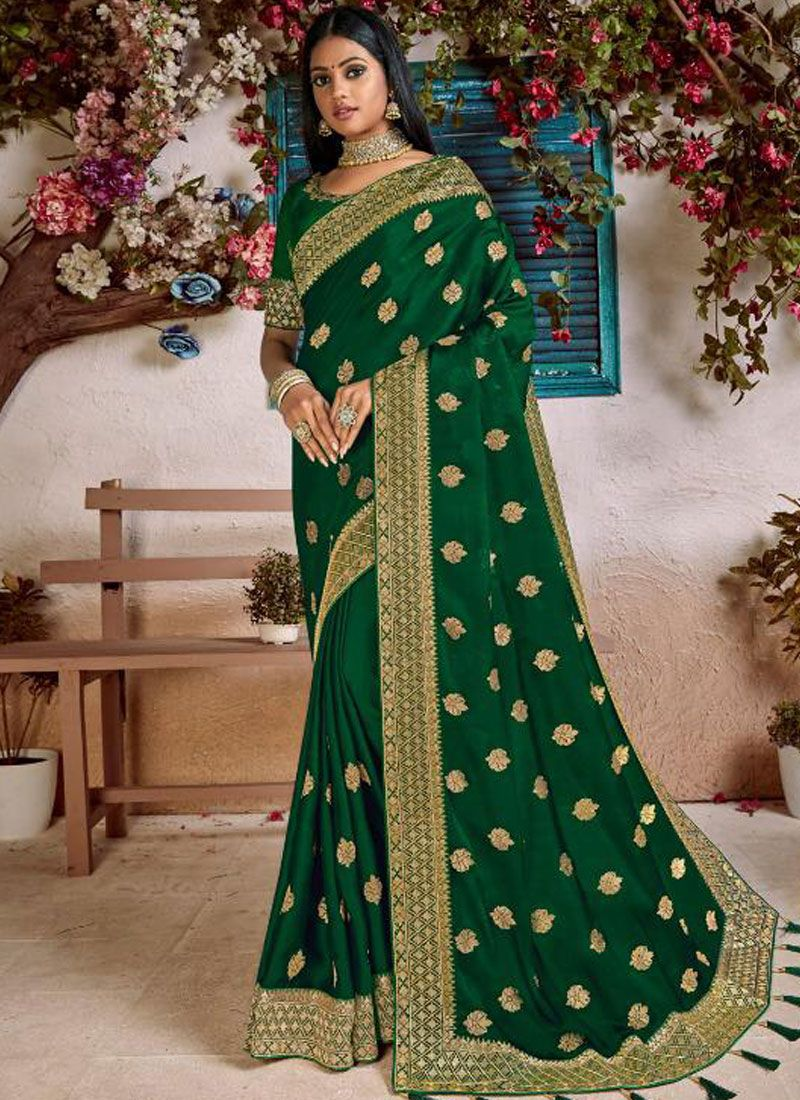 Art Silk Green Embroidered Designer Traditional Saree
