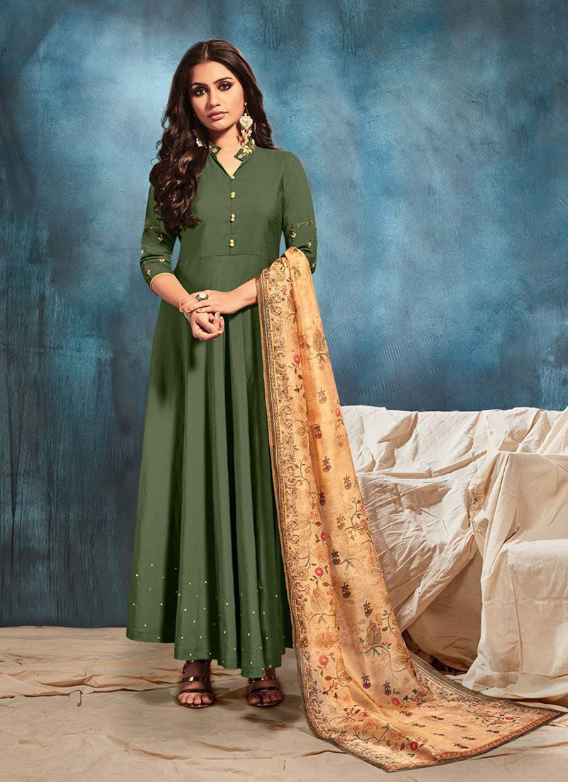 Art Silk Green Embroidered Party Wear Kurti