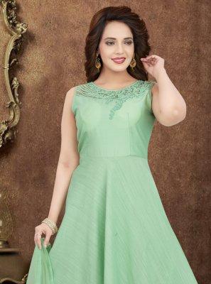 Art Silk Green Embroidered Salwar Suit